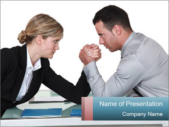 Competition Between Businesspeople PowerPoint Template - Slide 1