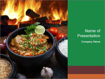 Food And Fire PowerPoint Templates - Slide 1