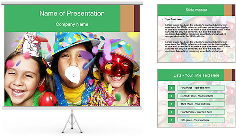 Children Wearing Carnival Hays PowerPoint Template