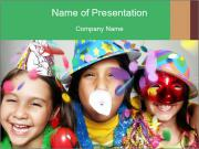 Children Wearing Carnival Hays PowerPoint Templates