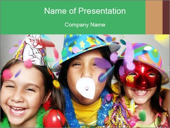 Children Wearing Carnival Hays PowerPoint Template - Slide 1