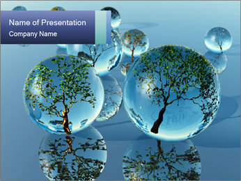 Trees In Water Drops PowerPoint Template