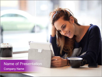 Lady With Tablet PowerPoint Template