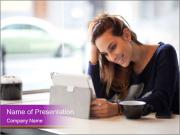 Lady With Tablet PowerPoint Templates