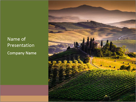 italian village landscape powerpoint template & backgrounds id, Modern powerpoint