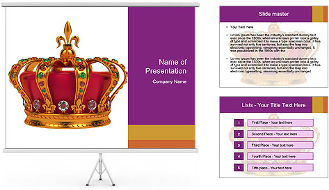 Crown With Gemstones PowerPoint Template