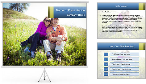 Couple Sitting In Field PowerPoint Template