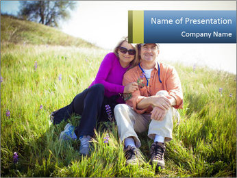 Couple Sitting In Field PowerPoint Templates - Slide 1