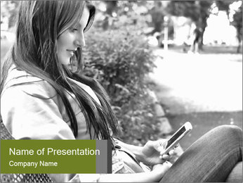 Woman Chatting Via Smartphone PowerPoint Template