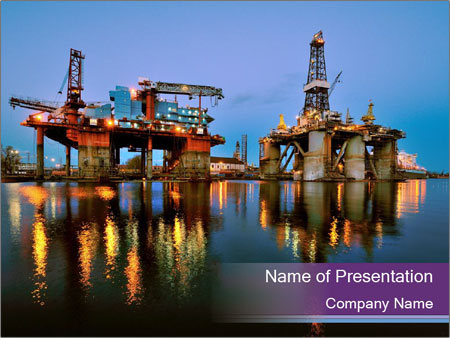 Shipyard At Night PowerPoint Template