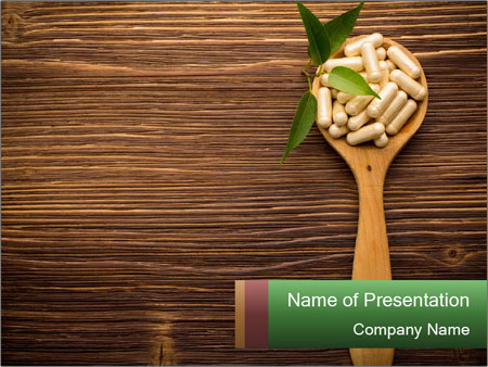 Homeopathic Pills In Wooden Spoon PowerPoint Templates