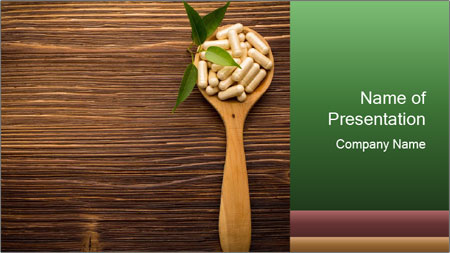 Homeopathic Pills In Wooden Spoon PowerPoint Template