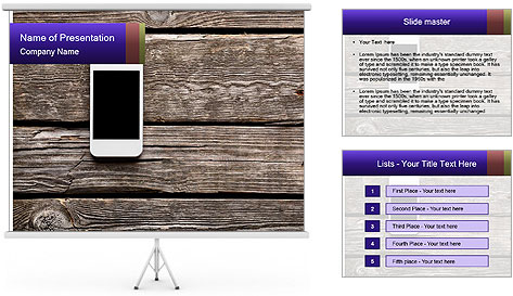 Smartphone On Wooden Table PowerPoint Template