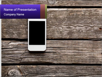 Smartphone On Wooden Table PowerPoint Template - Slide 1