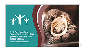 Beautiful oyster in his hand. Business Card Template