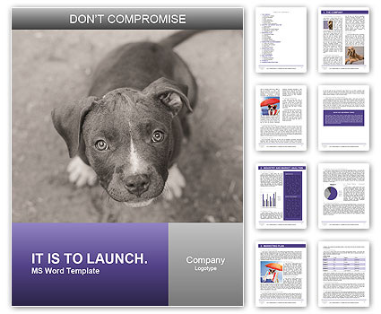 Pit bull puppy. Word Template