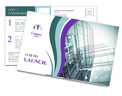 Glass office buildings. Postcard Template