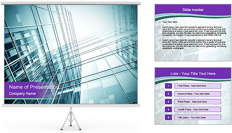 Glass office buildings. PowerPoint Template