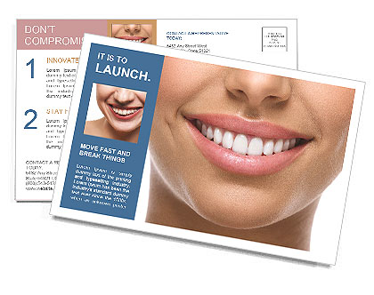 The snow-white smile healthy teeth. Postcard Template