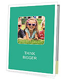 Three baby in sunglasses posing on the grass. Presentation Folder