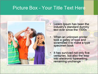 Three baby in sunglasses posing on the grass. PowerPoint Template - Slide 13