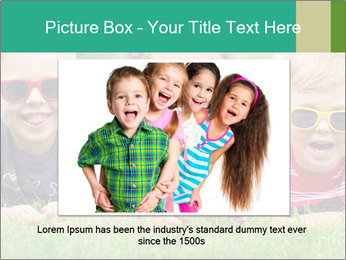 Three baby in sunglasses posing on the grass. PowerPoint Template - Slide 15
