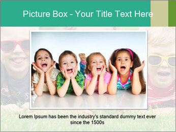 Three baby in sunglasses posing on the grass. PowerPoint Template - Slide 16