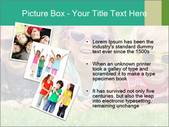 Three baby in sunglasses posing on the grass. PowerPoint Template - Slide 17
