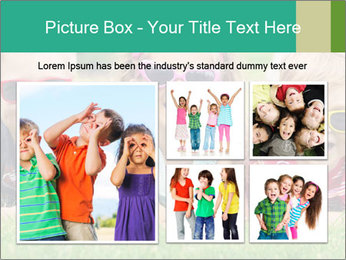 Three baby in sunglasses posing on the grass. PowerPoint Template - Slide 19