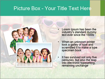 Three baby in sunglasses posing on the grass. PowerPoint Template - Slide 20