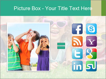 Three baby in sunglasses posing on the grass. PowerPoint Template - Slide 21