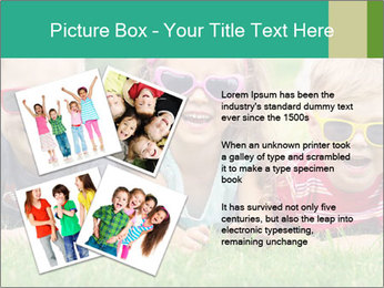 Three baby in sunglasses posing on the grass. PowerPoint Template - Slide 23