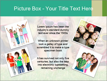 Three baby in sunglasses posing on the grass. PowerPoint Template - Slide 24
