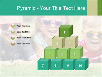 Three baby in sunglasses posing on the grass. PowerPoint Template - Slide 31