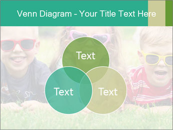 Three baby in sunglasses posing on the grass. PowerPoint Templates - Slide 33