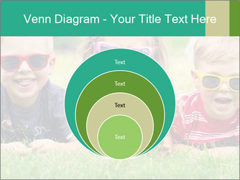 Three baby in sunglasses posing on the grass. PowerPoint Template - Slide 34