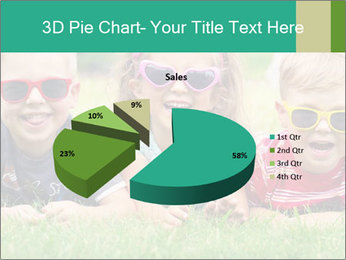 Three baby in sunglasses posing on the grass. PowerPoint Template - Slide 35