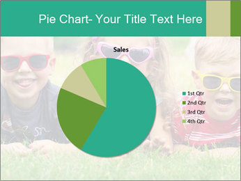 Three baby in sunglasses posing on the grass. PowerPoint Template - Slide 36