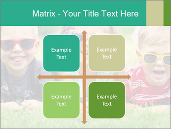 Three baby in sunglasses posing on the grass. PowerPoint Template - Slide 37