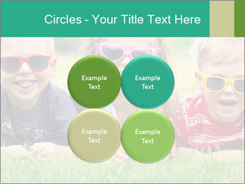 Three baby in sunglasses posing on the grass. PowerPoint Template - Slide 38