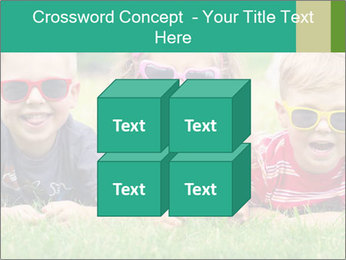Three baby in sunglasses posing on the grass. PowerPoint Template - Slide 39