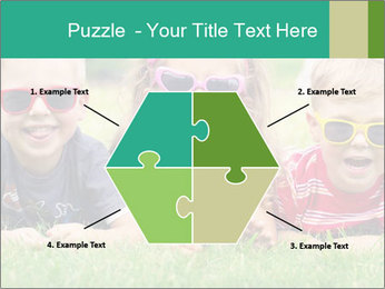 Three baby in sunglasses posing on the grass. PowerPoint Template - Slide 40
