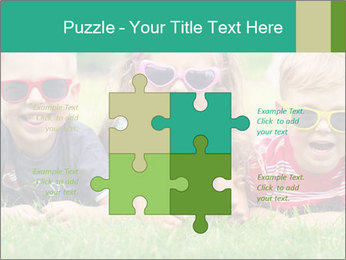 Three baby in sunglasses posing on the grass. PowerPoint Template - Slide 43