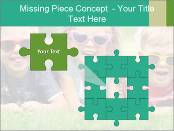 Three baby in sunglasses posing on the grass. PowerPoint Template - Slide 45
