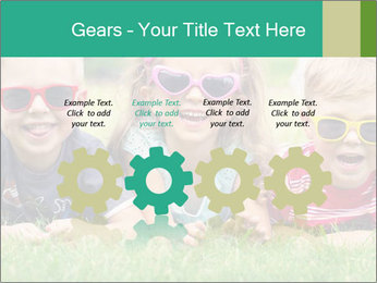 Three baby in sunglasses posing on the grass. PowerPoint Template - Slide 48