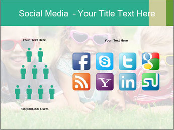 Three baby in sunglasses posing on the grass. PowerPoint Template - Slide 5