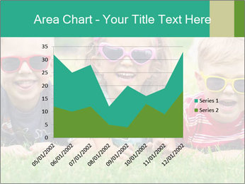 Three baby in sunglasses posing on the grass. PowerPoint Template - Slide 53