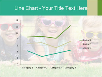 Three baby in sunglasses posing on the grass. PowerPoint Template - Slide 54