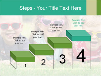 Three baby in sunglasses posing on the grass. PowerPoint Template - Slide 64