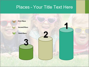 Three baby in sunglasses posing on the grass. PowerPoint Template - Slide 65